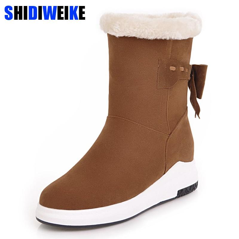 47d075db848 Botas de nieve plataforma plana lazo piel zapatos de mujer botas de tobillo  imitación gamuza moda