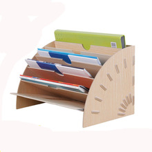 DINIWELL Creative DIY Office Study Multi - Storey Desktop A4 Magazine Fan - Shaped Wooden Storage Box File Information Frame