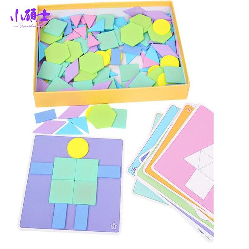 190 pièces coloré en bois créatif Imposition Tangram Puzzle jouet Tetris jeu préscolaire Magination intellectuel éducatif enfant jouet