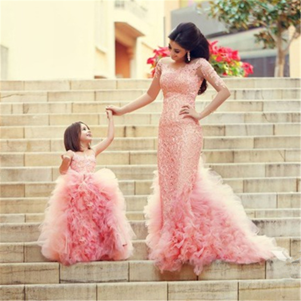 2019 New   Flower     Girl     Dresses   Blush Pink First Communion Gowns For   Girls   Ball Gown Cloud Beaded Pageant Gowns Vestido De Daminha