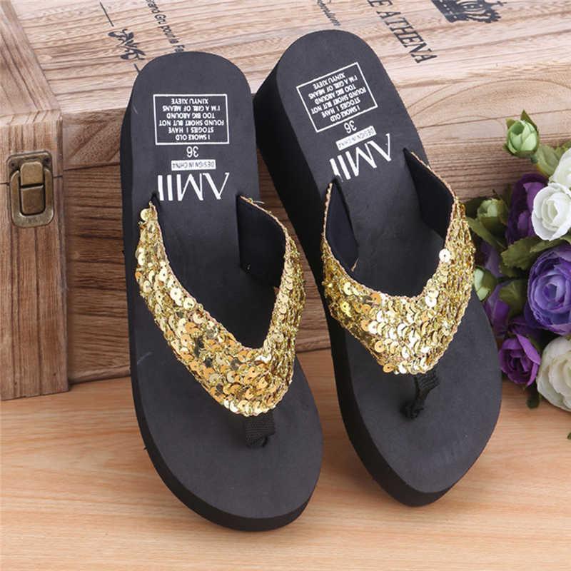 a4e616c937a9 ... New 1Pair Comfortable Summer Soft Women Wedge Sandals Sequin Thong Mid  Heels Platform Slippers ...