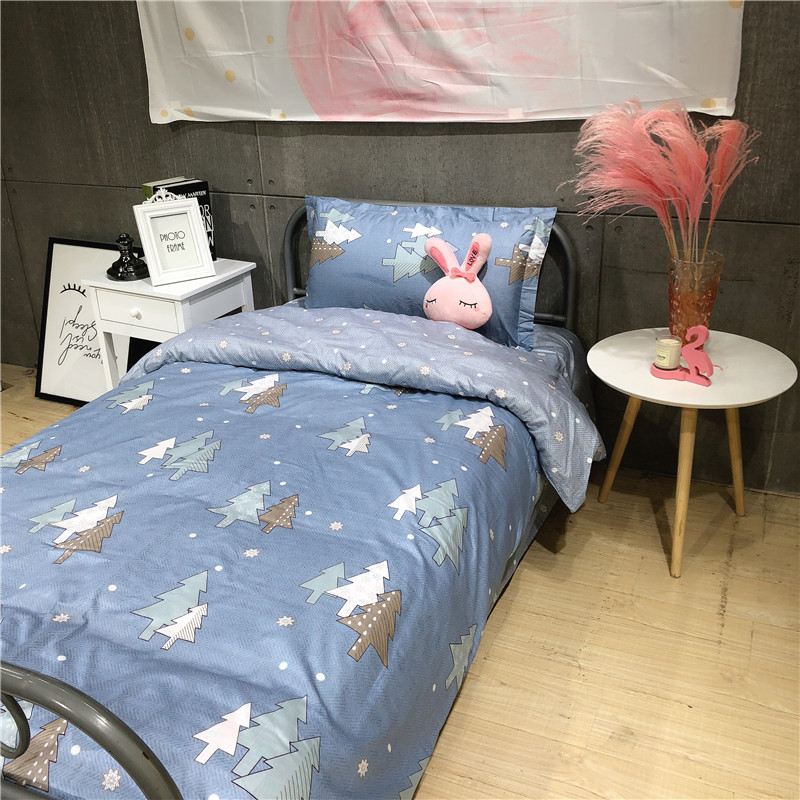 Christmas tree bedding sets cartoon Students children Boys girls duvet cover sets twin single size bed sheet cotton bedclothes