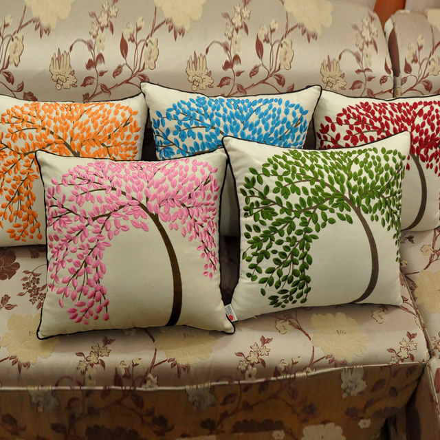 Linen/ Cotton Embroidered Pillow Case Sofa Back Cushion Cover 40*40 Cm, 45