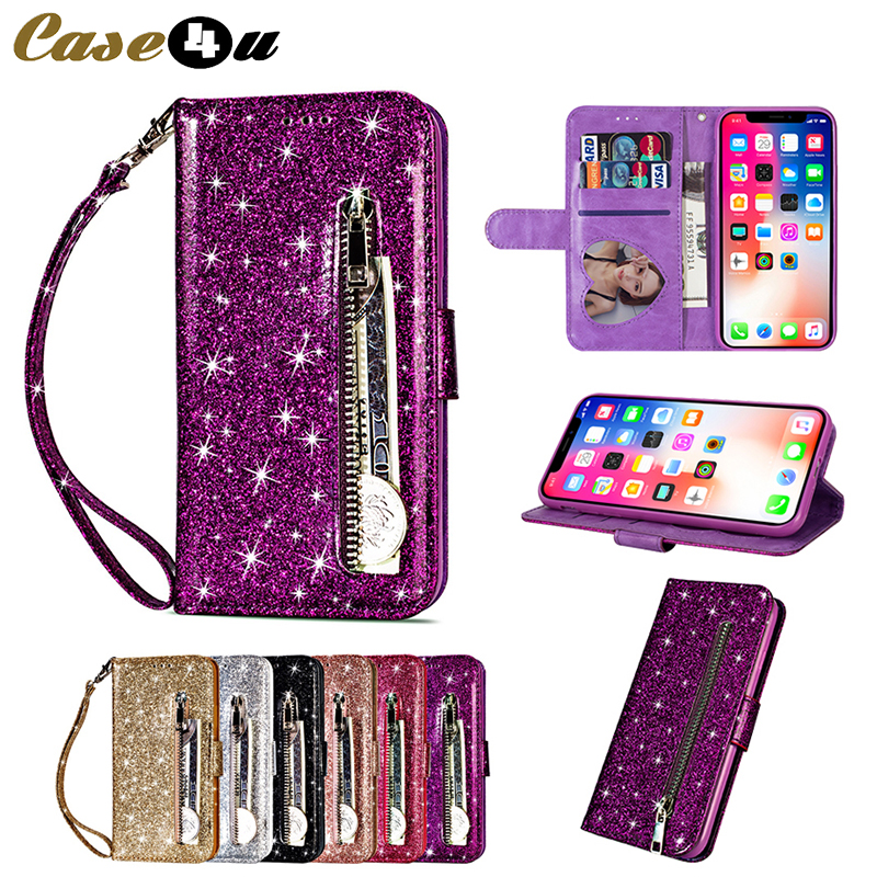 Glitter <font><b>Leather</b></font> PU <font><b>Flip</b></font> Zipper <font><b>Case</b></font> for <font><b>iPhone</b></font> <font><b>7</b></font> 8 6s Plus X XS Max XR Wallet Card Holder Cover for Samsung Note 9 8 S9 S8 Plus image