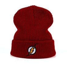 Winter Hat Beanies Skullies Knitted Hat Flash Hero Barry Allen Embroid Knitting Winter Hat Warm Hip-Hop Cap Unisex Teenager Hats(China)