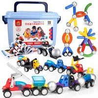 26/38/48pcs 3D Magnetic Designer Baby Toys Magnet Bars Metal Balls Pipe Building Blocks DIY Construction Car Model Toys for Boys