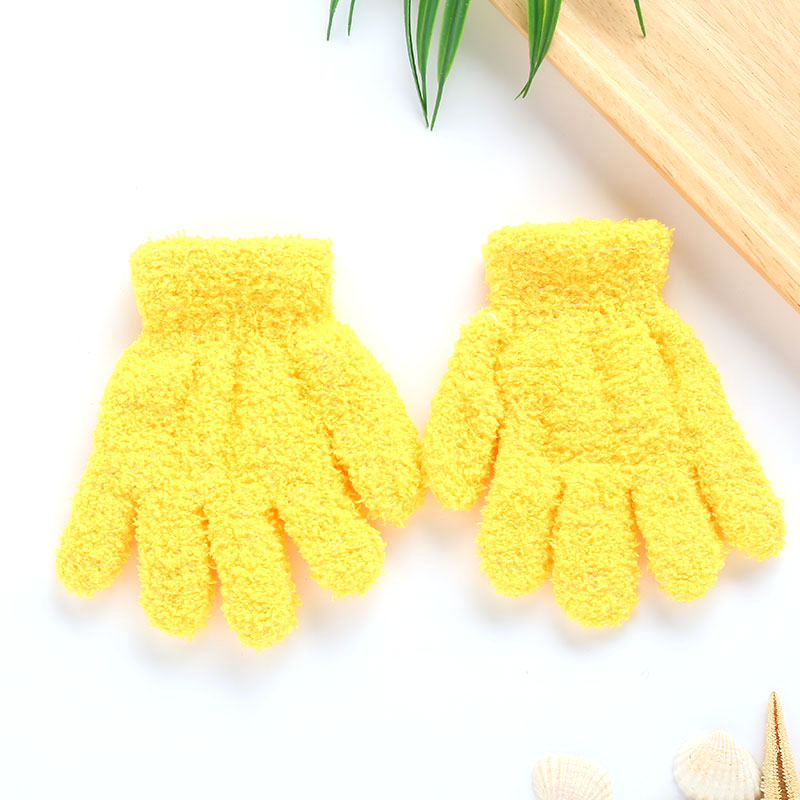 Плюшевые перчатки детские подарки детский сад Зимние удобные мягкие разноцветные - Цвет: yellow