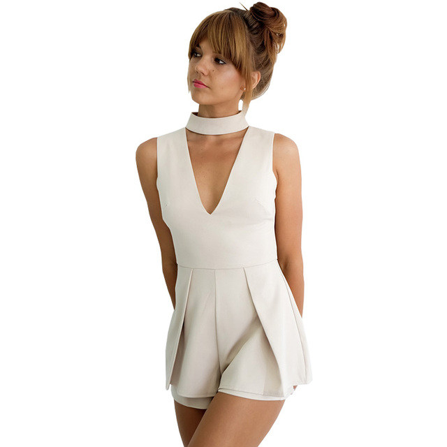 56031343eec Summer 2016 black deep v neck chiffon jumpsuit romper Women elegant halter  pleated short playsuit Sexy sleeveless girls overalls