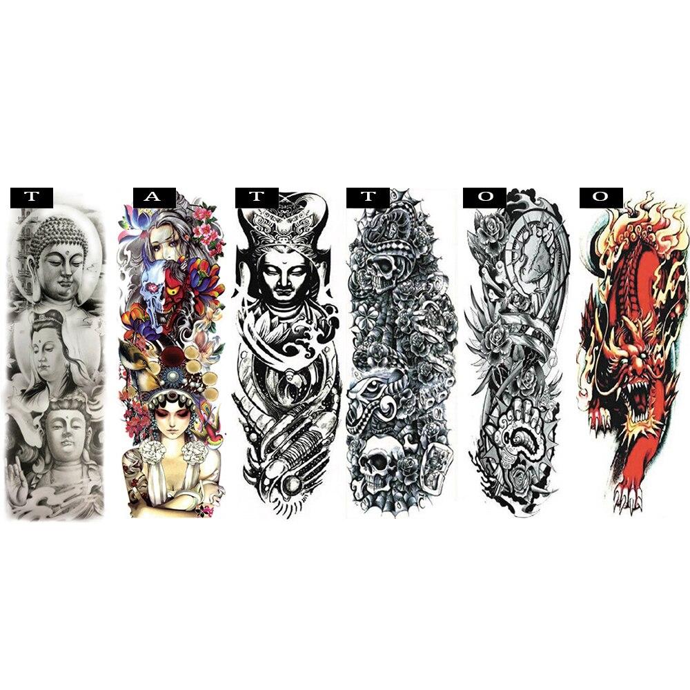 Novelty New mixed Nylon elastic Fake Tattoo temporary tattoos sleeve designs body Arm stockings tattoo for cool men women ramdom