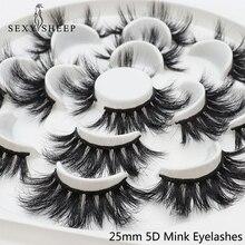 SEXYSHEEP faux cils en vison épais 25mm 5D, Extension de maquillage longue, modèle mixte, 7 paires