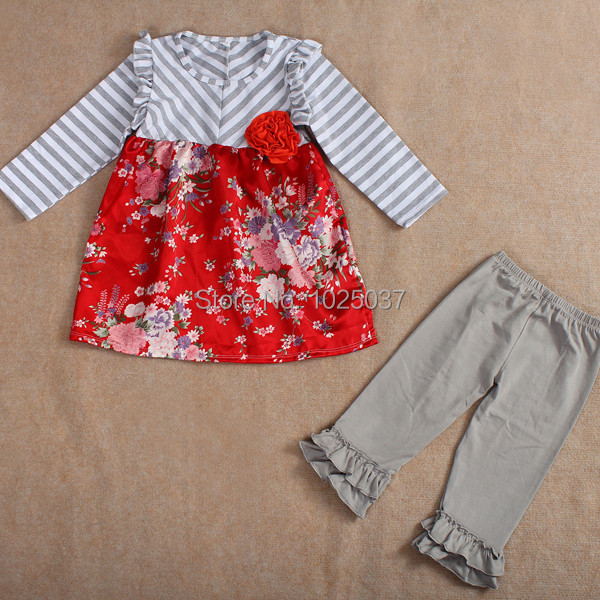 Adorable Kids Spring Boutique Outfits Gray Twill Floral Red Shirt Pants Set  Baby Girls Toddler Clothing Free Shipping 219f711da