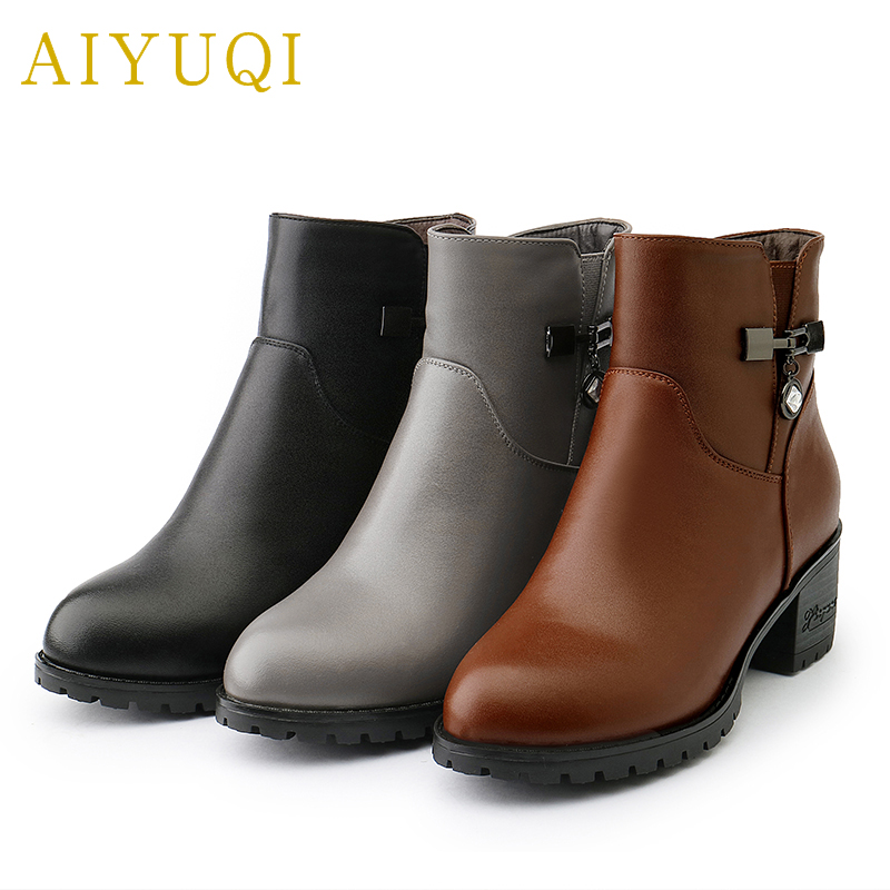 AIYUQI 2019 new genuine leather women s boots warm wool sexy large size 34 43 women
