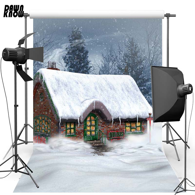 Dawnknow Merry Christmas Polyester Background Forest Snow