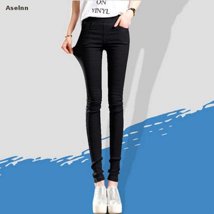 2020 Spring New Fashion Women Pencil Pants Casual Elastic Waist Skinny Trousers Plus Size Black White Stretch Pants 8
