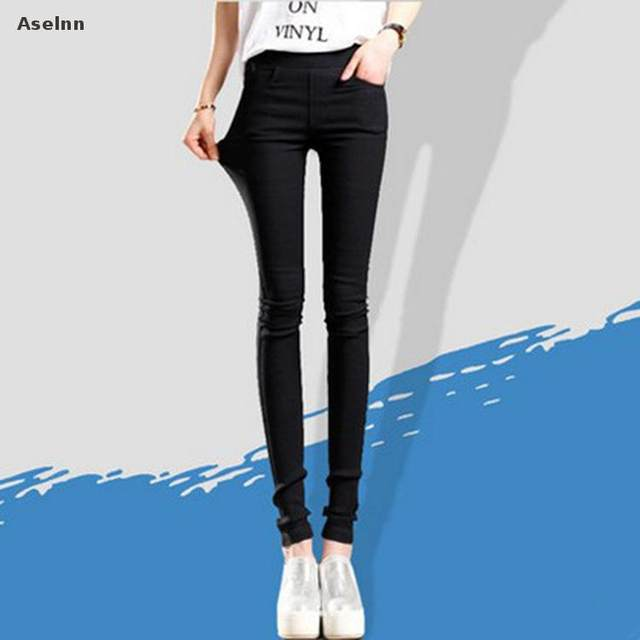 9544c694b60 Aselnn 2017 Spring New Fashion Women Pencil Pants Casual Elastic Waist  Skinny Trousers Plus Size Black White Stretch Pants