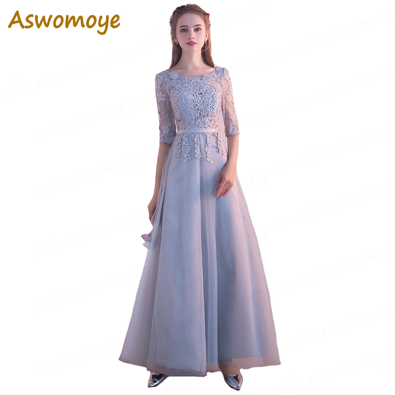 Aswomoye Elegant Silver   Evening     Dress   2018 New A-Line Prom   Dresses   Applique Flower Party   Dress   Illusion O-Neck robe de soiree