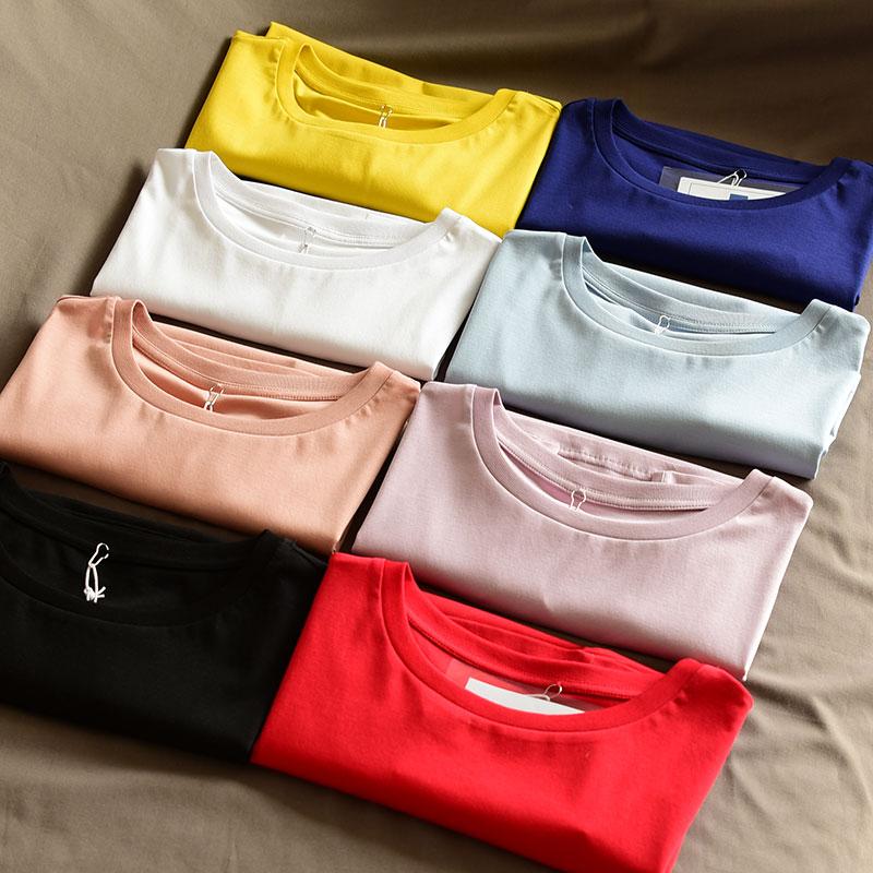 Дамы и девочек, T, простой и Чистый хлопок шеи Футболка, футболка с короткими рукавами, многоцветный