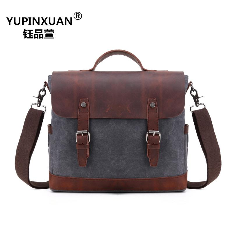 YUPINXUAN High Quality Waterproof Canvas + Cow Leather Handbags for Men Oil Wax Briefcase Metal Buckle Designer Messenger Bags 1pc white or green polishing paste wax polishing compounds for high lustre finishing on steels hard metals durale quality