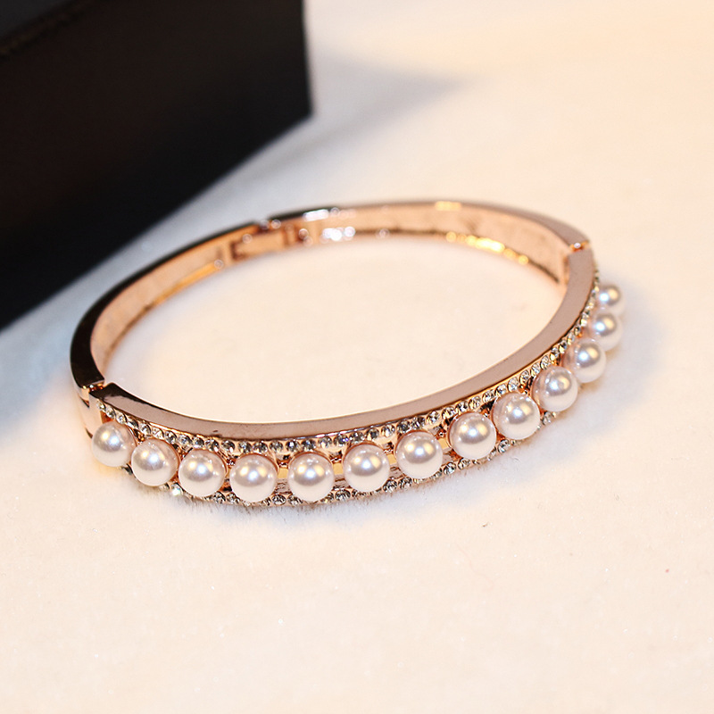 Hot Sale CZ Diamond Acrylic Pearl Bangles Summer Jewelry Top Fashion Gold Cuff Bangle Bracelet Armband