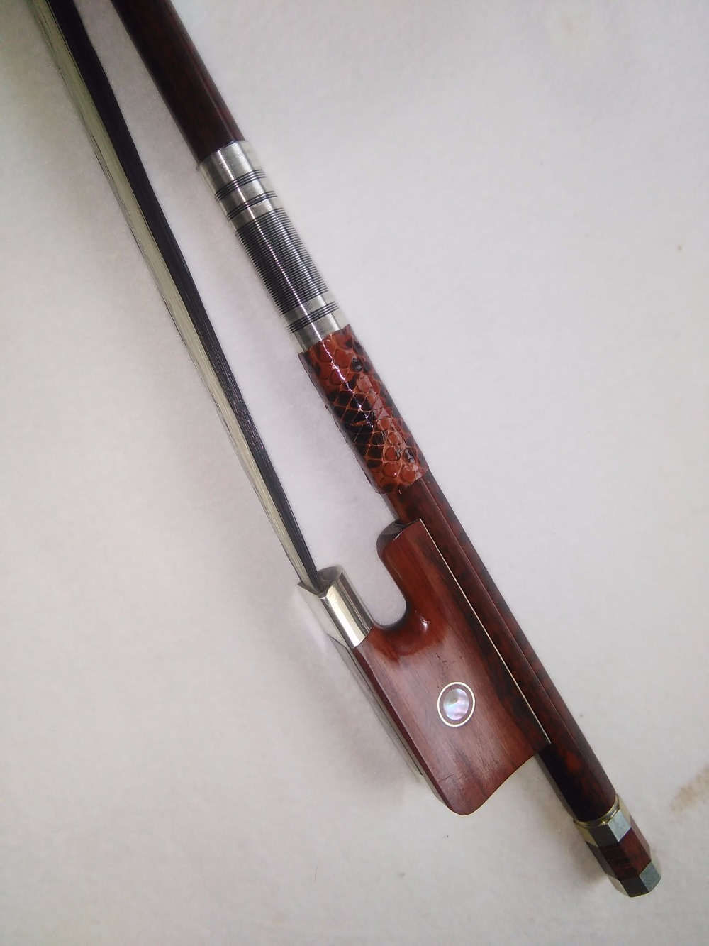 1 PC High Quality Double bass bow 3/4 snake wood bow stick and bow frog black white bow hair