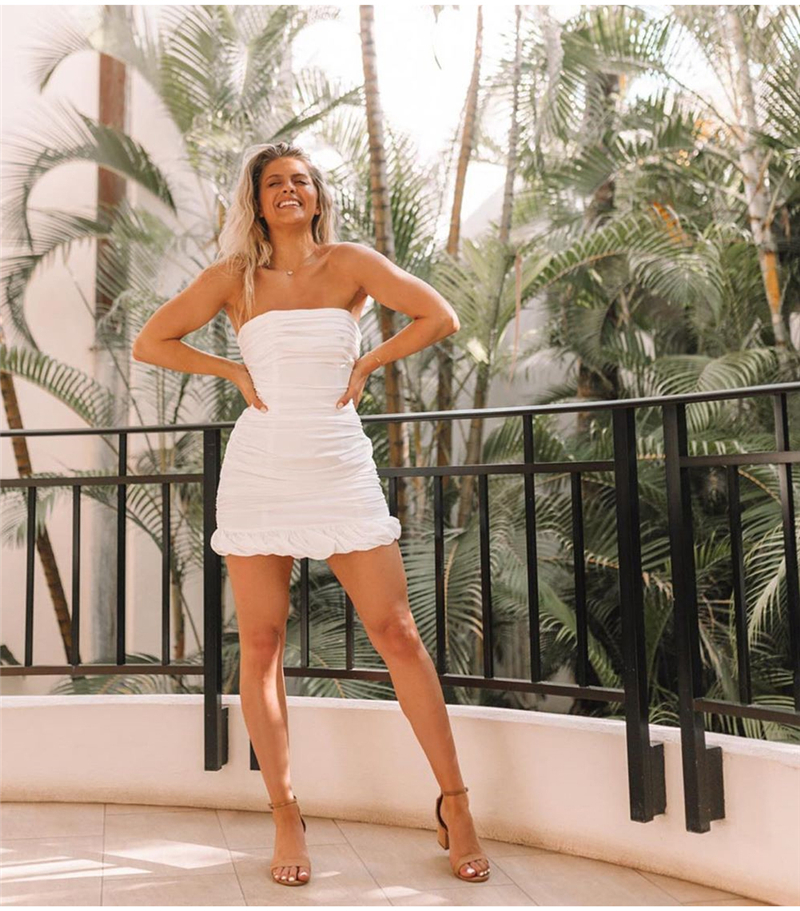 NewAsia Double Layers White Summer Dress 19 Women Strapless Ruched Bodycon Dress Elegant Club Sexy Party Dress Tight Dresses 24