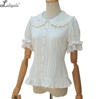 Sweet Lolita Shirt Short Puff Sleeve Flower Embroidered Peter Pan Collar White Ruffle Blouse for Ladies