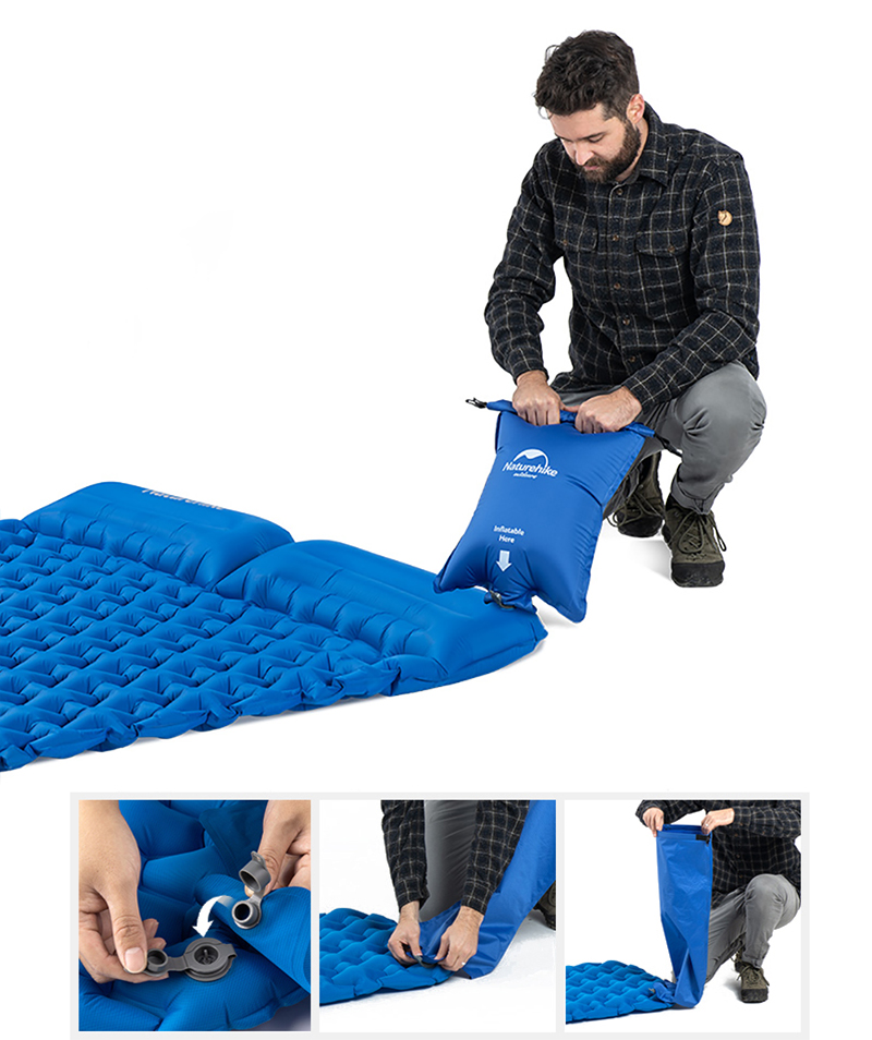 com travesseiro ultra-leve colchão portátil esteira inflável