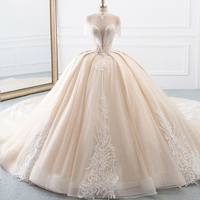 New Arrival High Neck Ball Gown Wedding Dresses Princess Tulle Hochzeitskleid Tassel Sleeves Abiti da Sposa Sparkly Robe Mariee