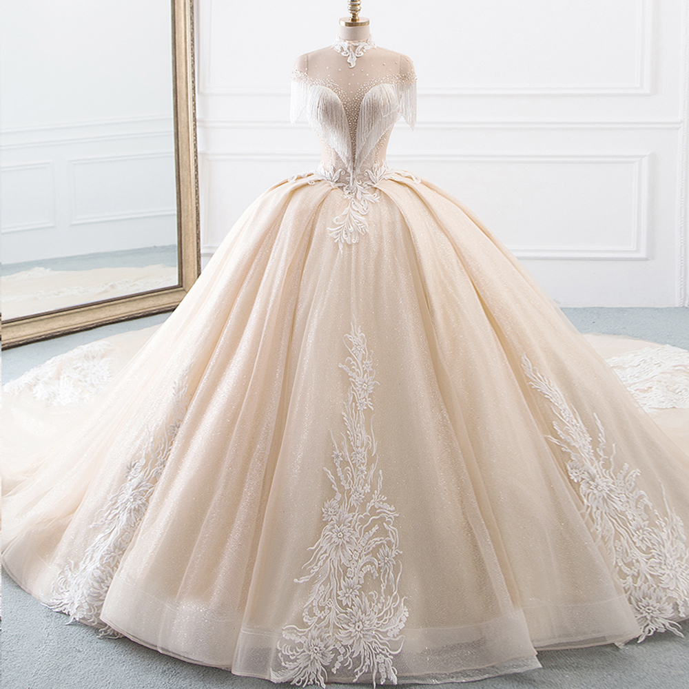 Nova Chegada Alta Pescoço vestido de Baile Vestidos De Casamento Da Princesa Tulle Hochzeitskleid Tassel Mangas Sparkly Robe Mariee abiti da Sposa