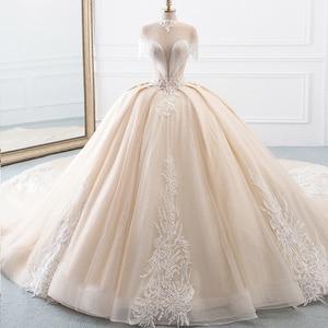 Image 1 - Vestido de novia de cuello alto, novedad, vestidos de princesa de tul, Hochzeitskleid, Mangas de borla, Abiti da Sposa, brillante, Mariee