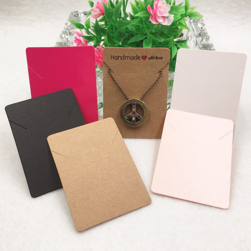 24pcs Colorful Paper Necklace Cards, Handmade With Love Hand Chain/Pendant Cards 7x5cm  Jewelry Accessory Displays Packing Card
