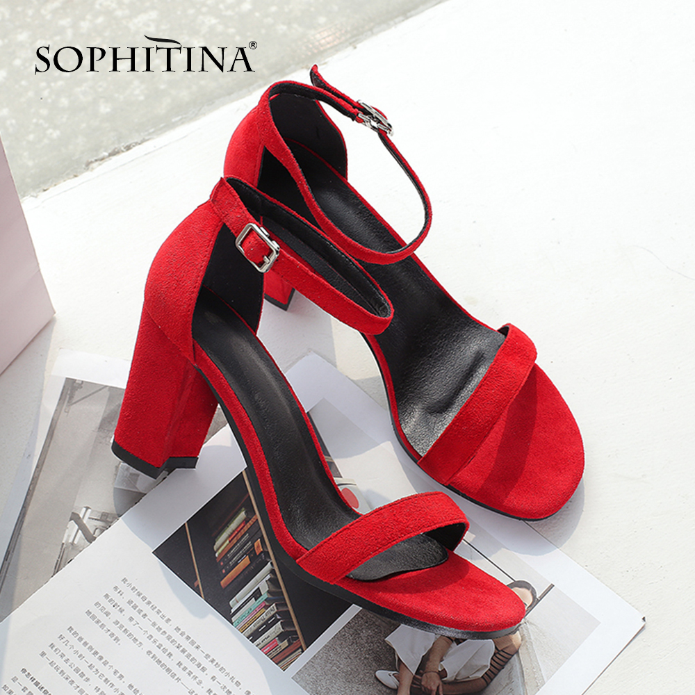 SOPHITINA Fashion Hoof Heels Sandals New Comfortable Kid Suede Buckle Strap Casual Shoes Explosion Design Women