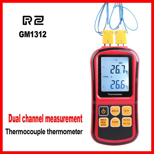 Professional thermometer Digital  Measure Too High Precision Temperature Meter Tester  with LCD Back light GM1312