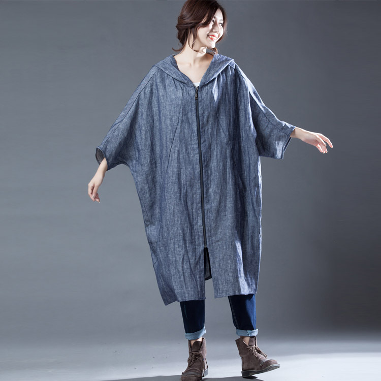 Impermeabili Corte Denim Lunghi A Cappotti Completa Giacca Maniche Del Casual Di Progettista Donne Per Blu Manica Le Modo Europeo Solido E Lunga Vento Pipistrello Trench 6UpZYwtq