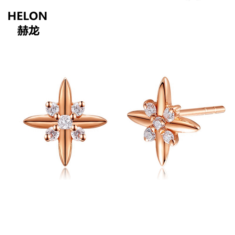 Solid 14k Rose Gold Natural Diamonds Stud Earrings for Women Engagement Wedding Party Fine Jewelry Earrings