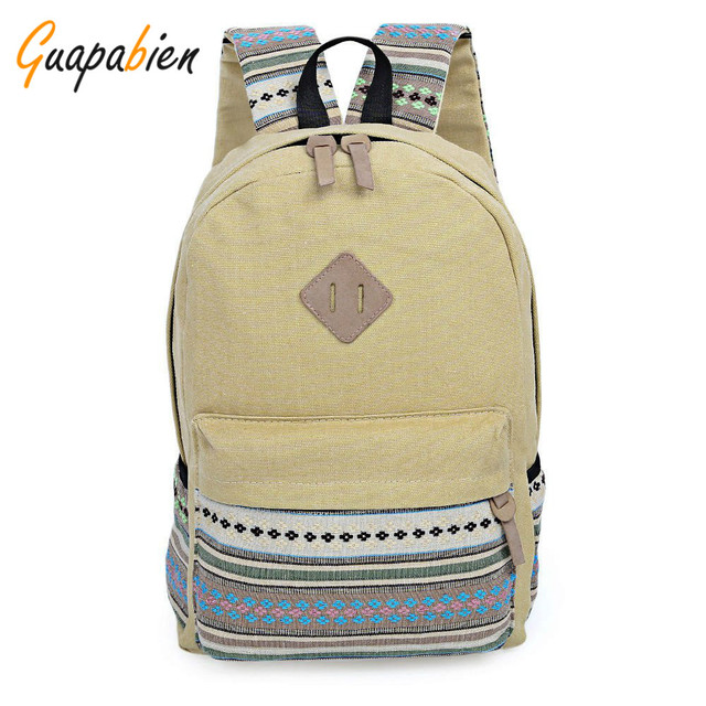 Guapabien Vintage Cute Ethnic Style Girls Backpacks Floral Embroidery  Striped Canvas Zipper Teenager Portable School Backpacks 3086fc2c7a7da