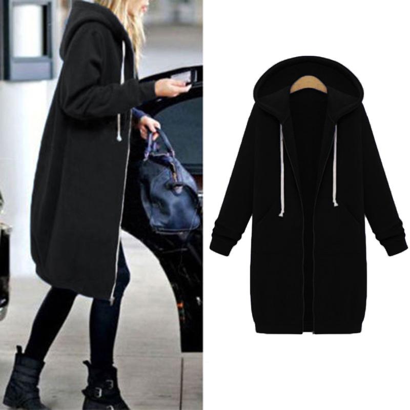 Women Warm Winter Fleece Hooded Parka Coat Overcoat Long Jacket Outwear Zipper outwear Female Hoodies S-5XL plus size sweatshirt 24