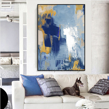 Canvas oil painting acrylic caudros decoracion blue painting modern abstract Wall art wall Pictures For Living Room Home Decor12