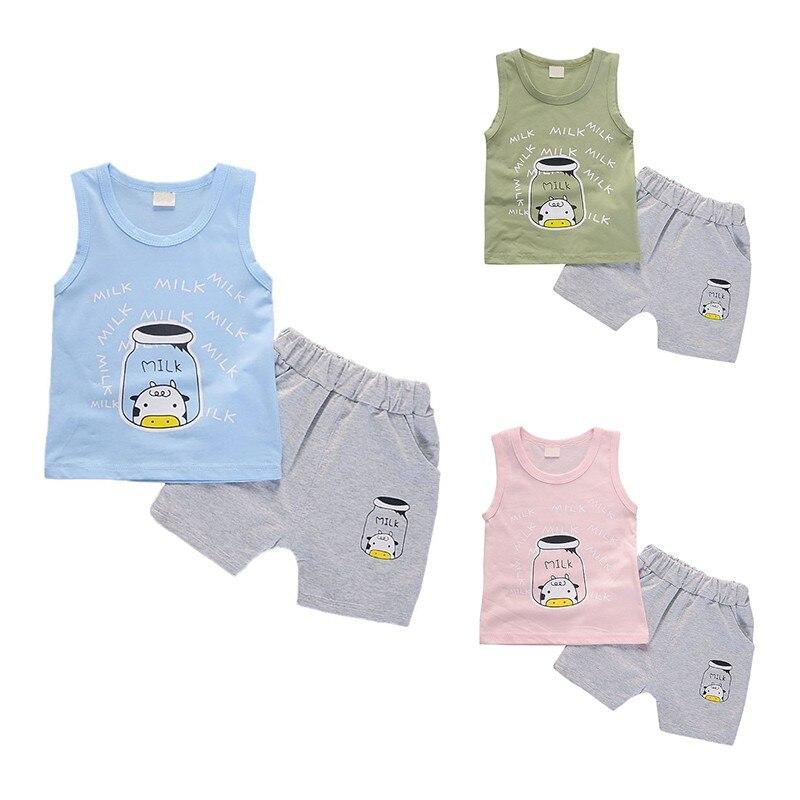 Милые Дети комплект одежды для мальчиков Детская летняя одежда жилетка без рукавов с рисунком узор шорты для мальчиков Комплекты в дети