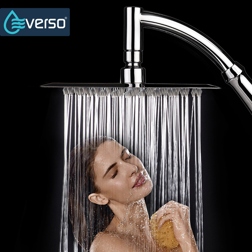8 Rain Shower Head High Pressure Shower Head 304 Stainless Steel Square Waterfall Shower Head Ceiling Shower Head ydl bd007 1 24 temperature control 40 led rgb light 304 stainless steel square shower head silver