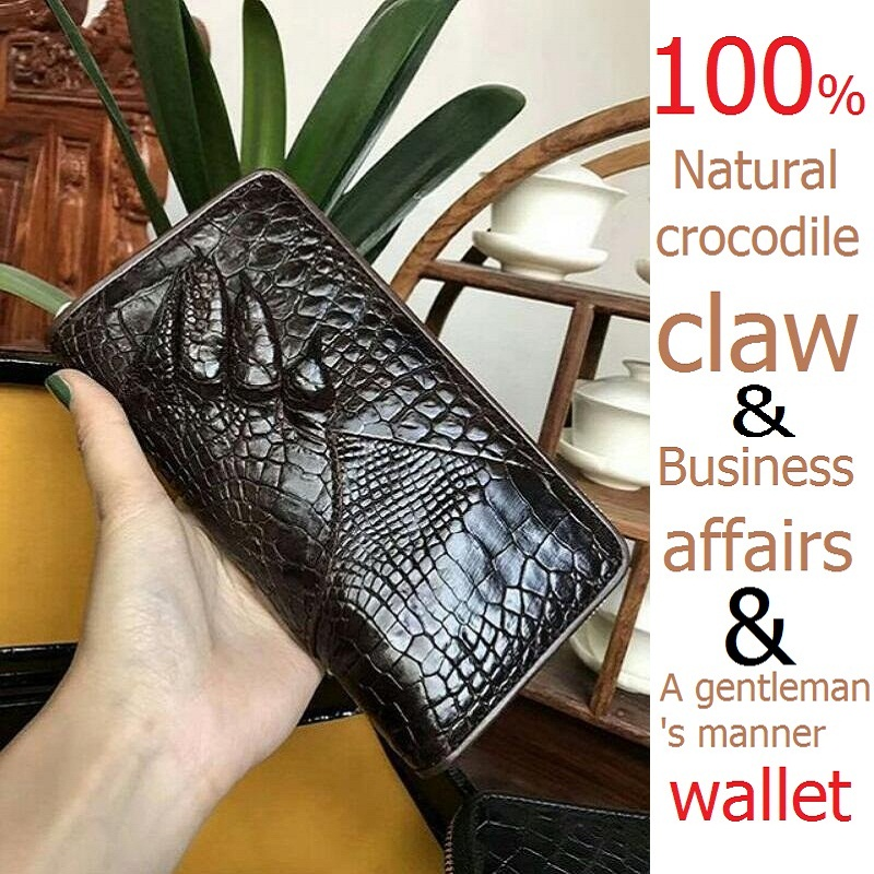Natural crocodile claw wallet ,alligator skin luxury wallet ,Genuine leather men's Clutch, new A gentleman's natural skin wallet цена