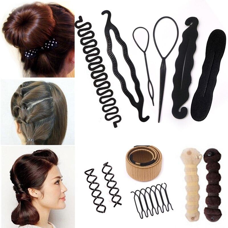 32 Styles Hair Accessories for Women Hair Braiding Tool Black Magic Sponge Hair Bun Maker Headband   Headwear   Hair Clips for Girls