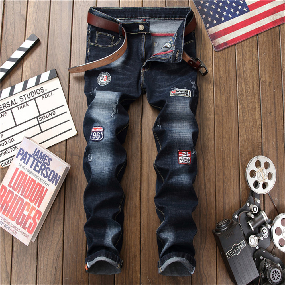Summer new men ripped jeans straight hole mens trousers distressed slim fit business fashion casual patchwork badge plus size