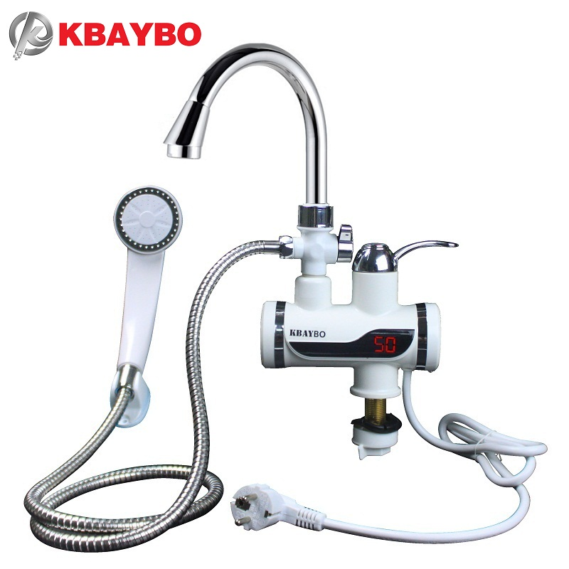 3000w water heater bathroom kitchen instant electric water heater tap lcd temperature display tankless faucet a