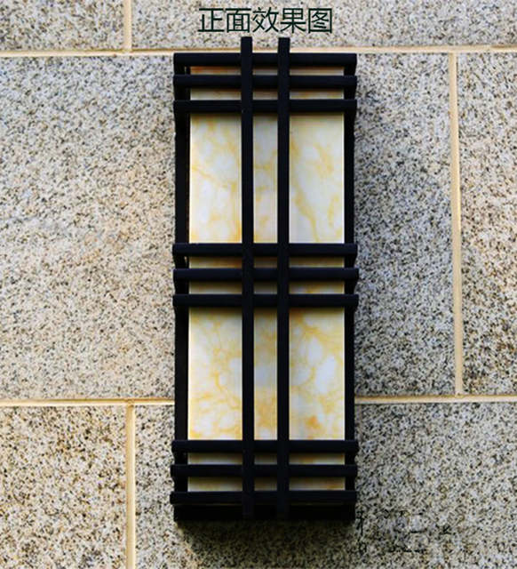 Placeholder Hallway Led Garden Lighting Marble Shade E27 Iron Exterior Wall  Lamp Outdoor Wall Sconce Coffee Shop