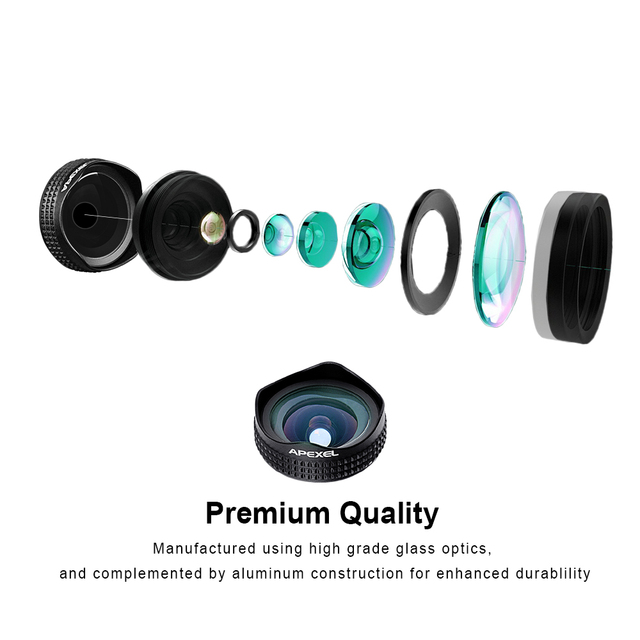 APEXEL Professional 4K Wide lens 0.6X HD super wide angle lens and 12-24X macro lens for iPhone 8 7s plus HTC cellphone 1824X 5