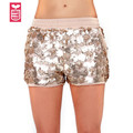 HYD Factory direct New 2017 Girls fashion Shiny golden flower sequins mini shorts womens HOT sexy slim hip minipants,low waist