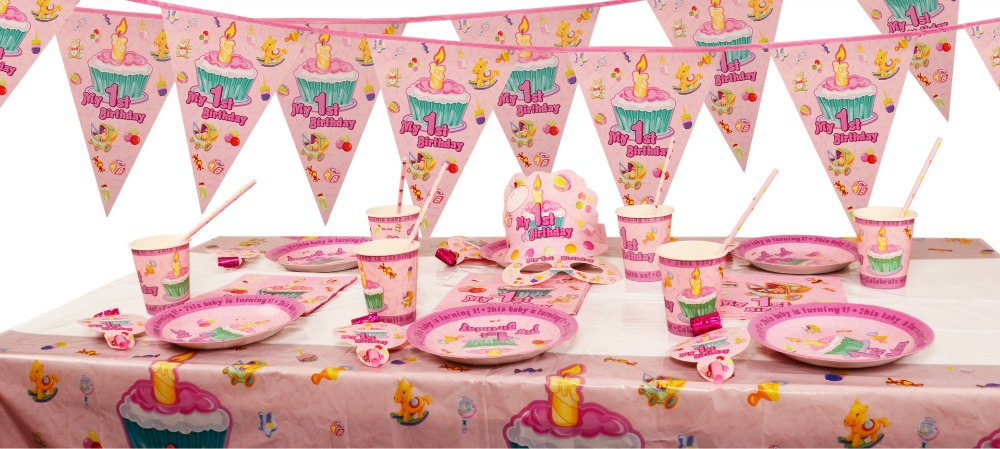 1st Birthday Pink Party Items (First/Girl) Tableware \u0026 Decorations table cloth Paper Plate Cups Napkins Straw Bunting Hat set on Aliexpress.com | Alibaba ...  sc 1 st  AliExpress.com & 1st Birthday Pink Party Items (First/Girl) Tableware \u0026 Decorations ...