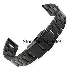 Venda de reloj de 18 mm 20 mm 22 mm 24 mm nuevo Mens de acero inoxidable negro correa correa de reloj pulsera de seguridad doble hebilla de cierre