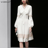 2019 Spring Summer Women's New Knee Length dress creamy white Lantern Sleeve Russian Vintage Lace Patchwork Party Dress Vestidos